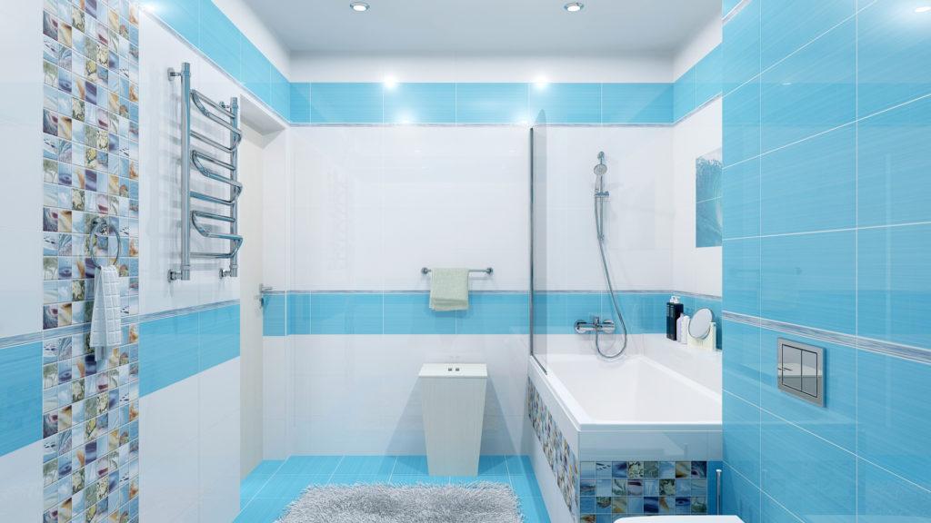 Прямоугольная плитка для маленькой ванной комнаты